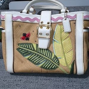 Vintage summer ladybug straw and leather handbag